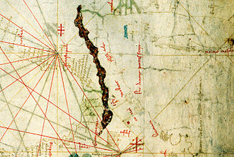 Tbilisi - Detail from the Nautical chart by Angelino Dulcert, depicting Georgian Black Sea coast and Tiflis, 1339.