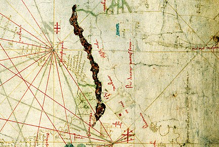 Detail from the Nautical chart by Angelino Dulcert, depicting Georgian Black Sea coast and Tiflis, 1339 Tiflis - Angelino Dulcert - 1339.jpg