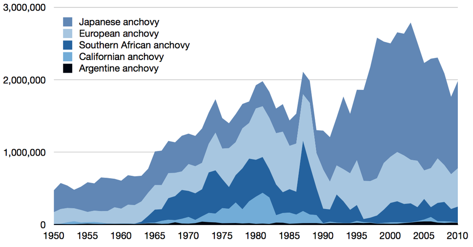 Time series for global capture of other anchovy