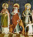 Tod Mariens (Schwaben um 1480) Rückseite 3 Heilige.jpg