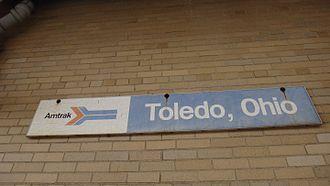 Martin Luther King Jr. Plaza (Toledo) - Toledo Amtrak Sign