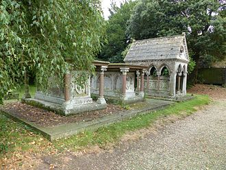Peter Drummond-Burrell, 22nd Baron Willoughby de Eresby - Tomb, alongside that of his wife, and second daughter, behind the Church of St Michael and All Angels, Edenham, Lincolnshire