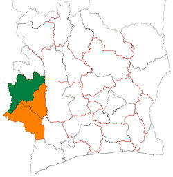 Location of Tonkpi Region (green) in Ivory Coast and in Montagnes District