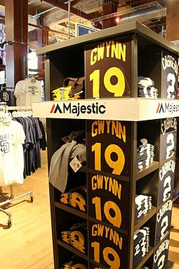 Gwynn No. 19 shirts on display Tony Gwynn No. 19 shirts.JPG