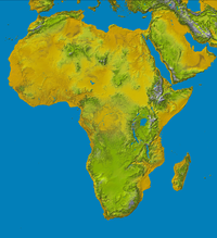 Physical map of Africa.