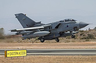 RAF Marham - RAF Tornado GR4 departs RAF Akrotiri carrying Storm Shadow cruise missiles on a Operation Shader mission.