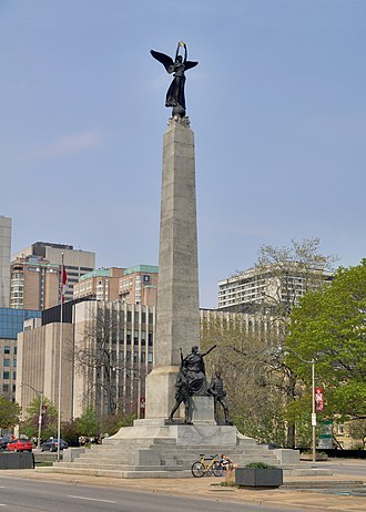University Avenue (Toronto) - The soaring South African War Memorial by Walter Seymour Allward stands in the median just north of Queen Street West