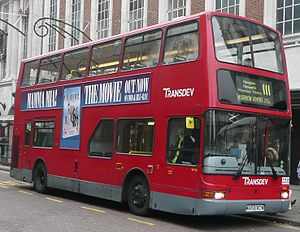 London Buses route 111 - Transdev London Plaxton President bodied Volvo B7TL in Kingston on Thames in December 2008