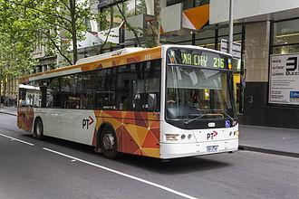 Transdev Australasia - Transdev Melbourne Volgren bodied Scania L94UB on Queen Street in December 2013