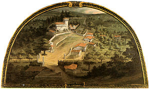 Villa del Trebbio - The Villa del Trebbio, in a lunette by Giusto Utens, held in the villa Medicea della Petraia.