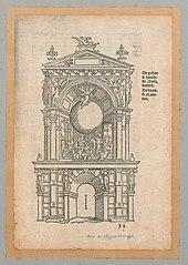 Triomfboog van de stad Antwerpen aen de Wijngaardbrug