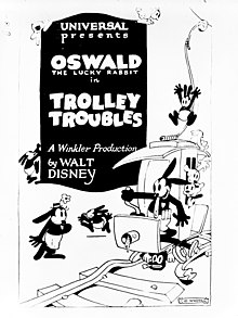 A cartoon rabbit is driving a tramcar; other cartoon rabbits are in, under, on and around the car.