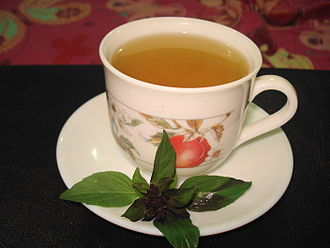 Kahwah - A cup of kahwah made with tulsi in place of the typical green tea
