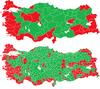 نقشه توزیع آرای موافق و مخالف به قانون اساسی جدید ترکیه