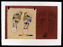 Two pairs of feet, indicating reflexology marks on the Wellcome L0038323.jpg