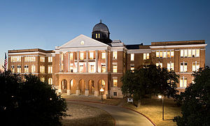 Old Main Building at night, Texas Woman's Univ...
