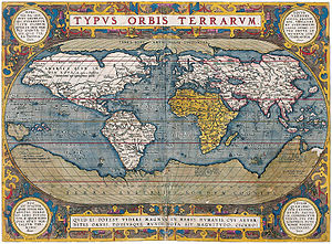 "Hyperborea - On this 1570 map, Hyperborea is shown as an Arctic continent and described as ""Terra Septemtrionalis Incognita"" (Unknown Northern Land). Notice the similarities in the continent to that of Mercator's map above."
