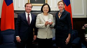 Ed Royce - U.S. House Foreign Affairs Committee Chairman Ed Royce and wife Marie meet Taiwanese President Tsai Ing-wen at the Presidential Office in Taipei, Taiwan in 2016