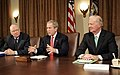 U.S. President George W. Bush with Lee Hamilton, left, and former Secretary of State James Baker in the Cabinet Room, Dec. 6. 2006.jpg