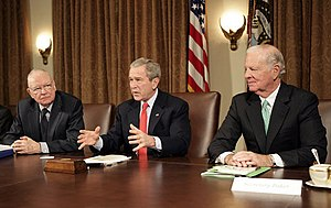 Lee H. Hamilton -  Lee Hamilton (left) and James Baker (right) presented the Iraq Study Group Report to President George W. Bush on December 6, 2006.