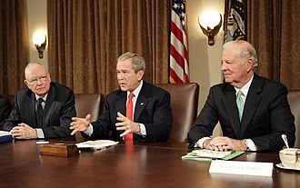 Iraq Study Group - Lee H. Hamilton (left) and James Baker (right) presented the Iraq Study Group Report to George W. Bush on December 6, 2006.