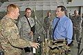 U.S. Sen. Joe Donnelly, right, talks with Air Force Master Sgt. Damon Girton, left, a tactical air control party member with the 181st Intelligence Wing (IW), Indiana Air National Guard, Aug. 28, 2013, in Terre 130828-Z-PM441-833.jpg