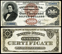 $1000 Silver Certificate, Series 1880, Fr.346d, depicting William Marcy
