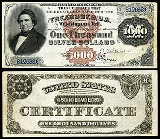 William L. Marcy - Marcy depicted on the Series 1880 $1,000 silver certificate.