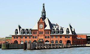 Central Railroad of New Jersey Terminal - CNJ Terminal at Liberty State Park showing ferry slips serving boats to Statue of Liberty National Monument, Ellis Island and Liberty Island (2013)