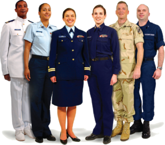 Photo showing a variety of Coast Guard uniforms. From Left: Service Dress White, Tropical Blue, Service Dress Blue, Winter Dress Blue, Camouflage Utility Uniform, Operational Dress Uniform USCG Uniforms.png