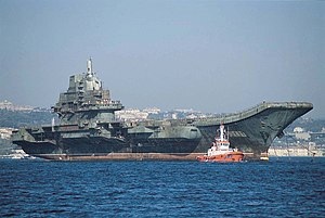 Chinese aircraft carrier Liaoning - Ex-Varyag under tow in Istanbul in 2001