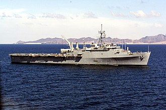 USS Duluth (LPD-6) - USS Duluth seen here off the coast of Aden, Yemen, 29 January 2000.