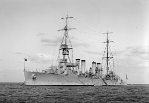 USS Memphis (CL-13) - Image: USS Memphis (CL 13) at anchor in Australian waters, in the 1920s (SLV H91.325.415)