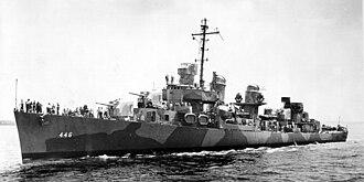 USS Radford (DD-446) - Image: USS Radford (DD 446) underway in 1942
