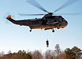 US Navy 050304-N-4374S-002 A member of Explosive Ordnance Disposal Mobile Unit Six (EODMU-6) is hoisted down to perform a Combat Search and Rescue (CSAR) exercise from a UH-3H Sea King helicopter.jpg