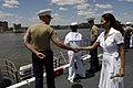 US Navy 060524-N-7676W-133 Actress Halle Berry greets Sailors and Marines aboard the amphibious assault ship USS Kearsarge (LHD 3), during the parade of ships at the start of Fleet Week New York City 2006.jpg