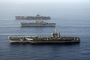Carrier Strike Group 3 - John C. Stennis, Bonhomme Richard, and Nimitz in Gulf of Oman (22 May 2007)
