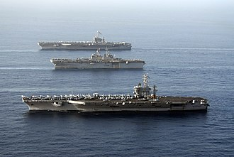 Carrier Strike Group 3 - John C. Stennis, Bonhomme Richard, and Nimitz in Gulf of Oman (22 May 2007)