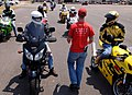US Navy 080611-N-5345W-145 Volunteer motorcycle safety instructor Nick Brunney gives the command for riders to shut down their bikes after completing the morning session of the first Naval Safety Center-sponsored Military Sport.jpg
