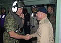 US Navy 080727-N-9493W-015 Capt. Neil Parrott, commanding officer of the amphibious assault ship USS Bonhomme Richard (LHD 6), welcomes aboard General Walter Natynczyk, Canadian chief of Defense Staff.jpg