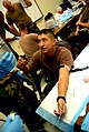 US Navy 081203-N-3674H-278 Ensign Christopher Waldrop receives saline solution via intravenous therapy.jpg