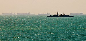 HMS Richmond (F239) - Richmond patrolling near the Al Basra Oil Terminal, Iraq