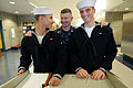 US Navy 090330-N-9818V-268 Master Chief Petty Officer of the Navy (MCPON) Rick West stops to speak with Sailors on watch during his tour of the Naval Air Technical Training Center.jpg