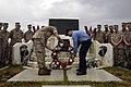 US Navy 090525-N-4790M-093 Lance Cpl. Austin Mckinney, assigned to First Fire Team, 2nd Platoon FASTPAC, Norfolk, Va, and Information Technician 1st Class Nicholas R. Karp, present a wreath at the Iwo Jima Memorial.jpg