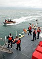 US Navy 090817-G-6414E-001 Crewmembers aboard the U.S. Coast Guard Cutter Legare (WMEC 912) make final preparations before boarding Yu Feng, a Taiwanese-flagged fishing vessel suspected of illegally fishing off the coast of Fre.jpg