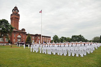 Naval Station Great Lakes - Recruits stand at attention for a special ceremony commemorating the centennial of Great Lakes.