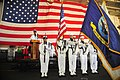 US Navy 110909-N-MH885-010 Color guard members present arms during the national anthem at the start of the Patriot's Day ceremony aboard USS Georg.jpg