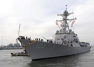 US Navy 111210-N-PI709-180 The guided-missile destroyer USS Truxtun (DDG 103) returns to Naval Station Norfolk after a seven-month deployment.jpg