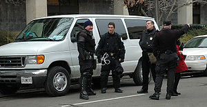 Federal law enforcement in the United States - U.S. Park Police officers awaiting deployment  during the 2005 Inauguration Day