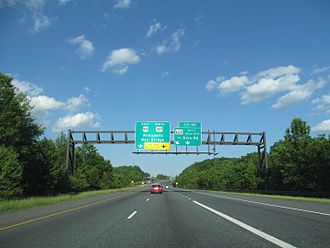 U.S. Route 50 in Maryland - US 50 eastbound/US 301 northbound at the MD 665 exit in Parole